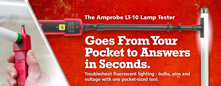 Amprobe LT-10 Fluorescent Lamp Tester w/ Non-Contact Voltage Detection