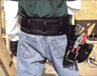 "A premium quality 5"" padded work belt provides extra comfort and comes with a double-tongue roller buckle"