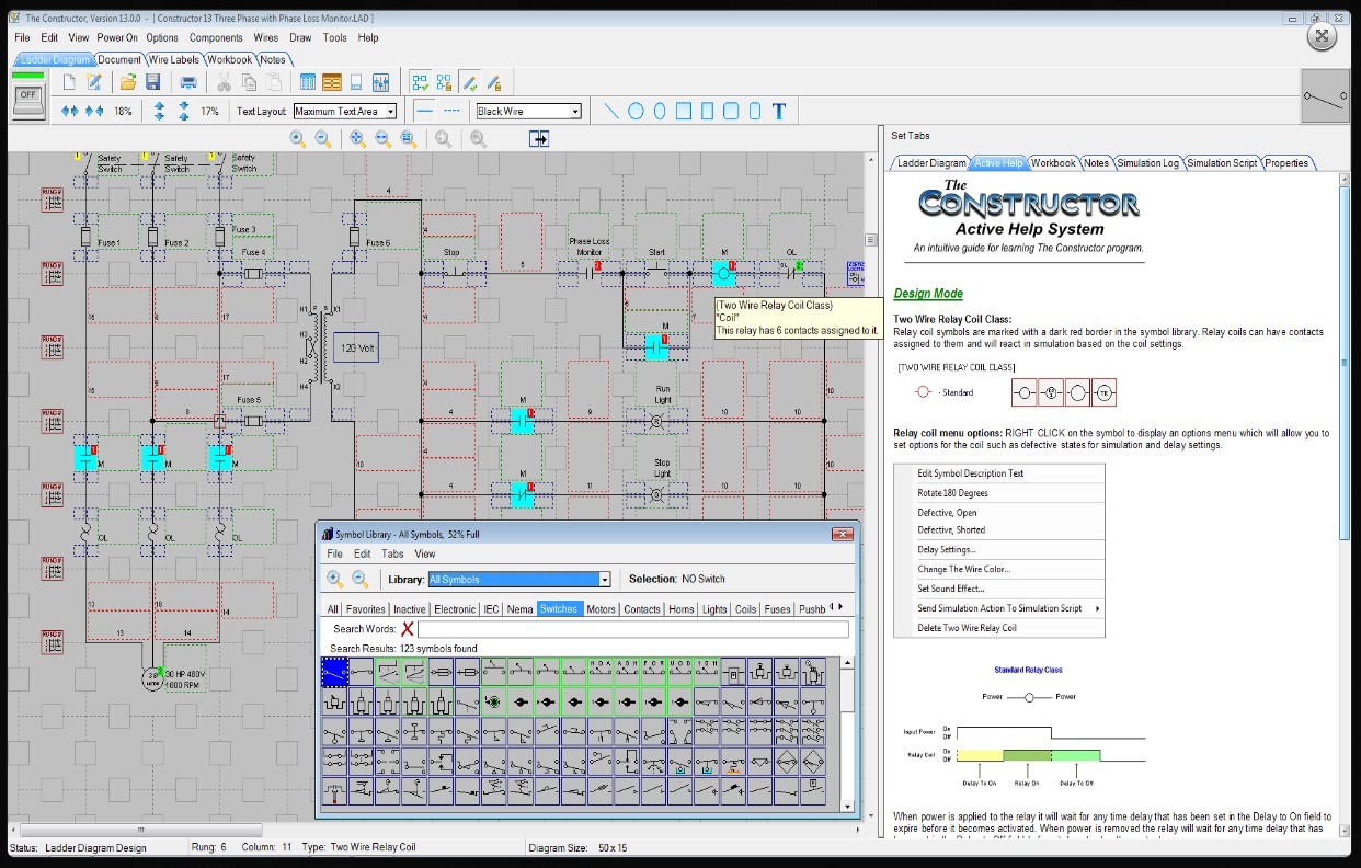 The Constructor 14 Electrical Ladder Diagram Schematic And Plc Relay Logic Circuit Simulator In Edit Mode