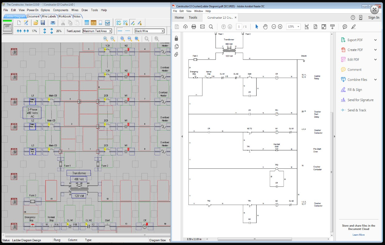 The Constructor 14 Electrical Ladder Diagram Schematic And Plc Siren Simulator Wiring Export Preview Screen