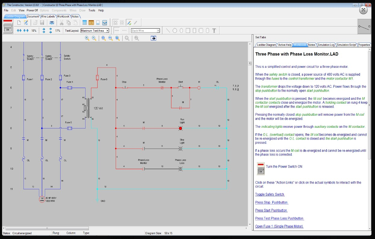 The Constructor 14 Electrical Ladder Diagram Schematic And Plc Logic Maker In Run Mode