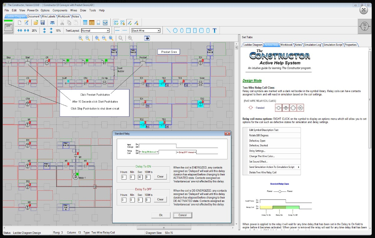 The Constructor 14 Electrical Ladder Diagram Schematic And Plc Residential Wiring Simulator Picture Of With Open Time Delay Dialog