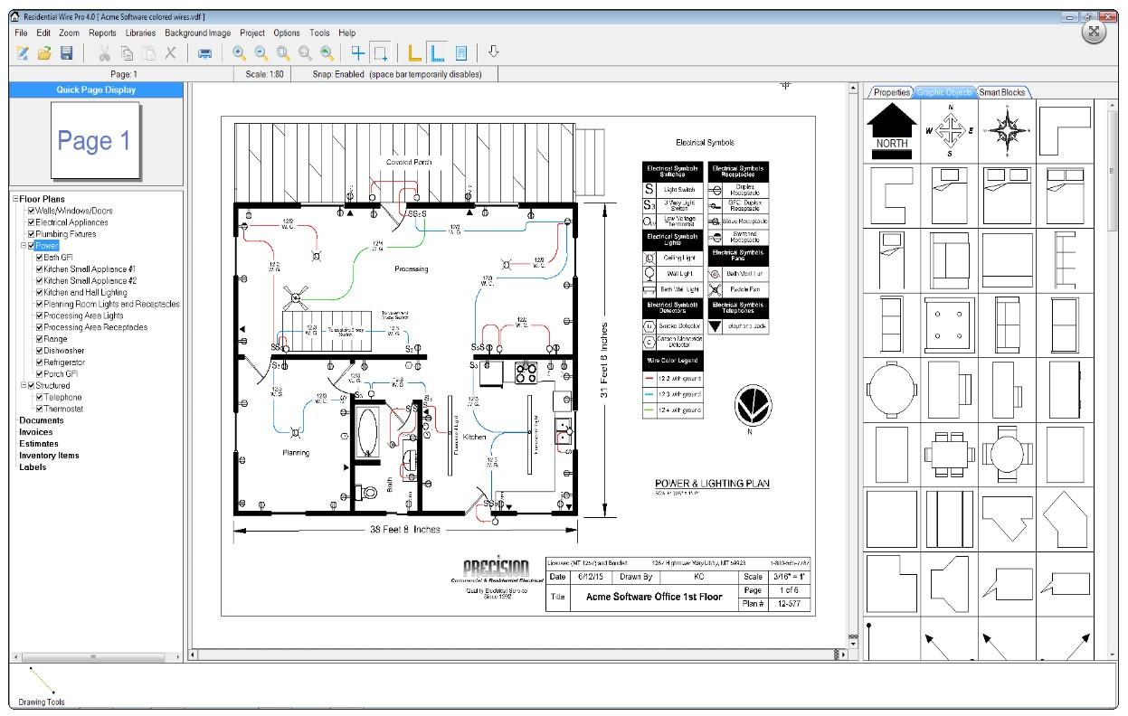Residential wire pro software draw detailed electrical Residential building plan sample