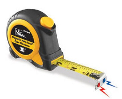 Ideal 30 ft magnetic tip auto lock tape measure for Magnetic fish tape