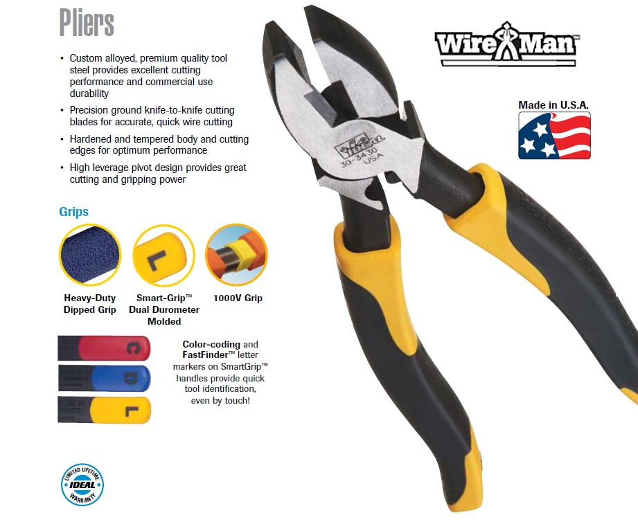 ideal wireman side-cutting (lineman's) pliers - made in the usa