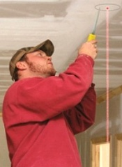 Using a Dot Laser to install ceiling lights