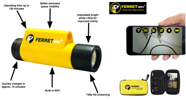Ferret WiFi Wireless Inspection Camera and Wire Pulling Tool