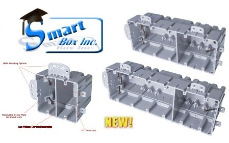 "NEW Multi-Mount SmartBoxes mount Horizontally, or Vertically, have 1/2"" KOs and include a (Optional) Low Voltage Divider"